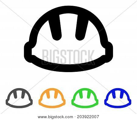 Hardhat icon. Vector illustration style is a flat stroke iconic hardhat symbol with black, gray, green, blue, yellow color versions. Designed for web and software interfaces.