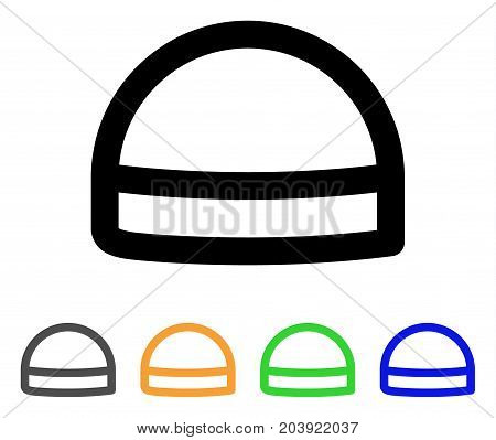 Hardhat icon. Vector illustration style is a flat linear iconic hardhat symbol with black, gray, green, blue, yellow color variants. Designed for web and software interfaces.
