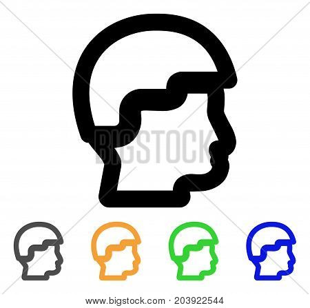 Sergeant Head icon. Vector illustration style is a flat linear iconic sergeant head symbol with black, gray, green, blue, yellow color variants. Designed for web and software interfaces.