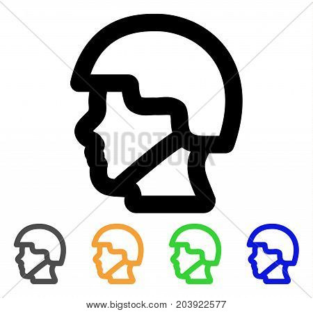 Soldier Head icon. Vector illustration style is a flat linear iconic soldier head symbol with black, gray, green, blue, yellow color versions. Designed for web and software interfaces.
