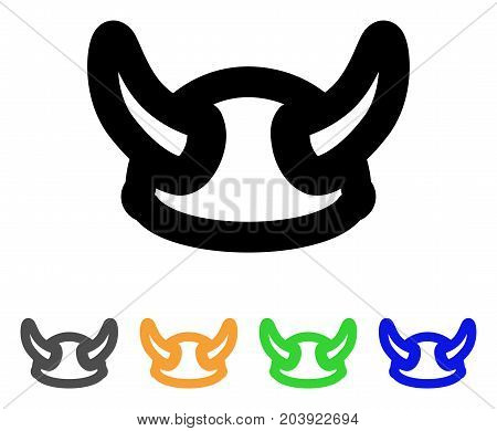 Viking Helmet icon. Vector illustration style is a flat contour iconic viking helmet symbol with black, gray, green, blue, yellow color variants. Designed for web and software interfaces.