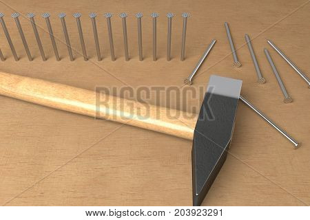 hammered nails and ready to hammer, 3d rendering
