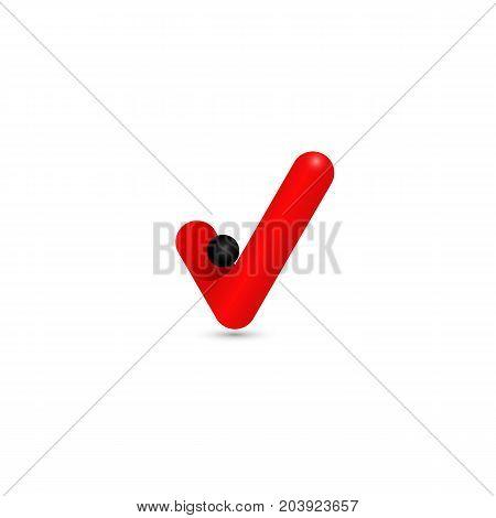 Red v letter logo vector illustration with black circle