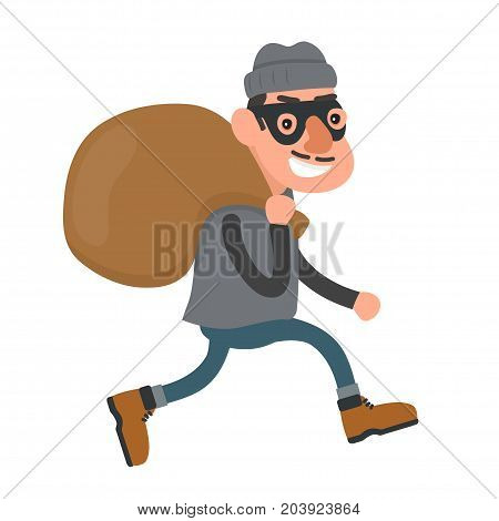 Happy smiling thief, robber runs with a bag. Vector flat cartoon character modern style illustration icon drawing, Isolated on white background