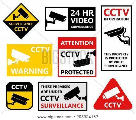 security camera stickers set, cctv protection symbols