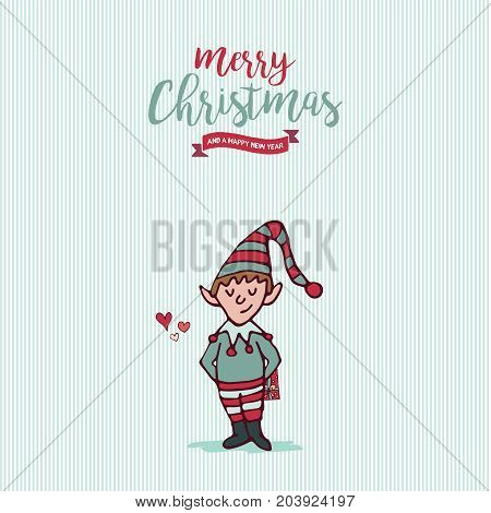Christmas And New Year Holiday Elf Cartoon Card