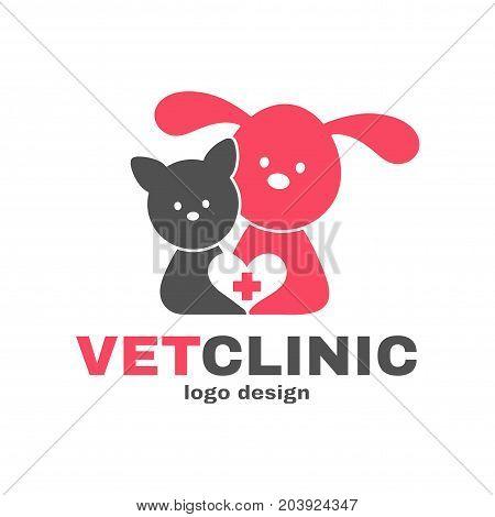 Vetclinic logo design templete. Vet clinic, veterinarian, veterinary concept. Vector flat modern style illustration cartoon icon. Dog, cat, heart. Isolated on white background