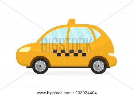 Yellow taxi cab auto. Vector flat modern style illustration cartoon icon.Isolated on white background