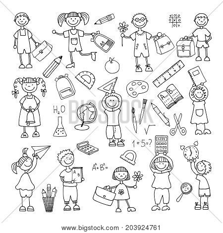 hand-drawn school subjects and children. Back to school. Vector illustration. Set