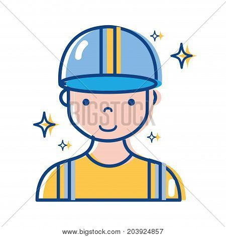 profesional man worker with cap and clothes vector illustration