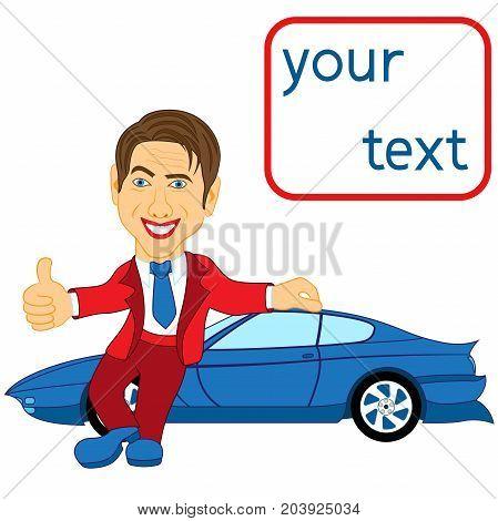 Happy Man Standing Near Blue Car