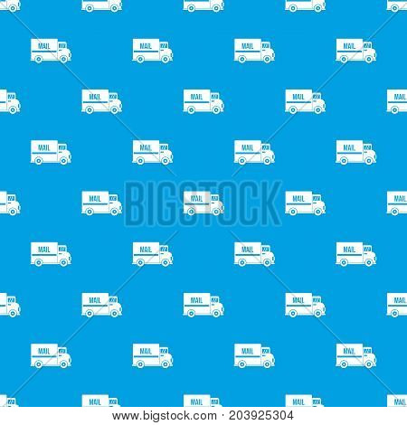 Mail truck pattern repeat seamless in blue color for any design. Vector geometric illustration