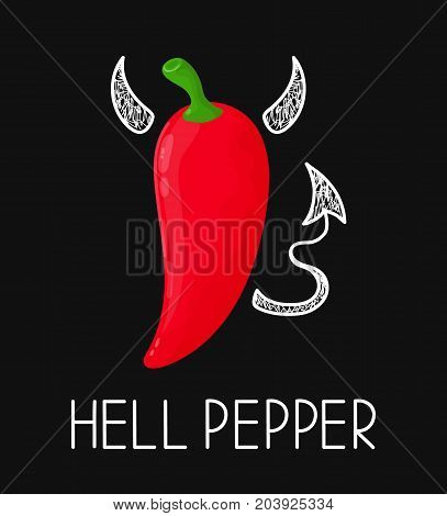Concept angry evil hell chili pepper with devil horns and tail. Vector modern flat and doodle style cartoon character illustration. Isolated on white background. Concept for hot mexican or asian menu