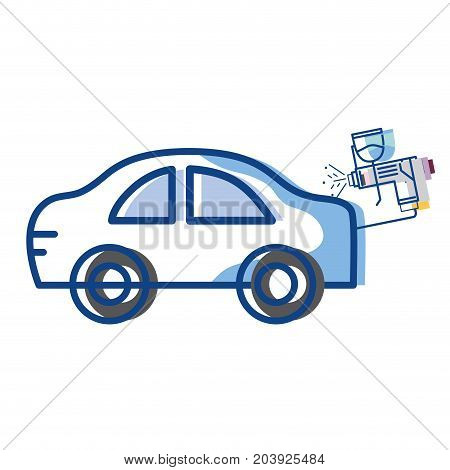 car with pistol oil injector element service vector illustration poster