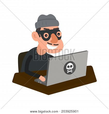Robber hacker with laptop computer. Vector modern flat style cartoon character illustration icon design.Isolated on white background. Network fraud, web pirate, russian computer crime, hacking