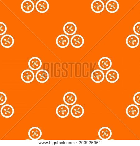 Buttons for sewing pattern repeat seamless in orange color for any design. Vector geometric illustration
