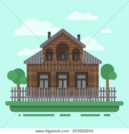 Country brawn house with trees and fence. Colorful village russian old house. Countryside colored wood house. Cute outback hut with decoration, grass. Vector illustration art with blockhouse.