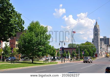 WATERTOWN, NY, USA - AUG. 16, 2012: First Baptist Church in Public Square in downtown Watertown, Upstate New York, USA.