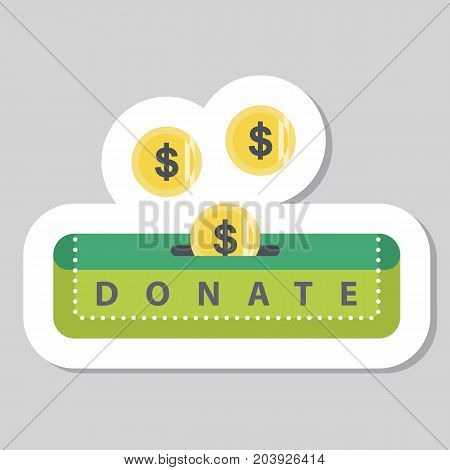 Donate button with coin and dollar sign. Help red and yellow icon donation sticker. Gift charity. Isolated support design sign. Contribute, contribution, give money, giving symbol. Vector illustration