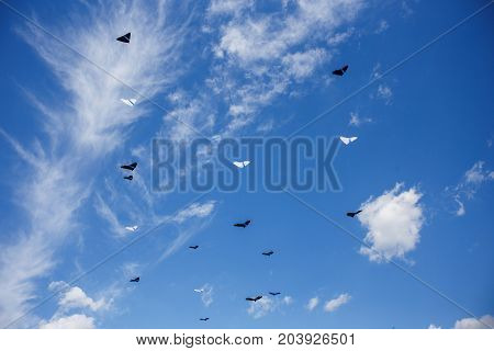 group of kites in the blue sky with white clouds. kite festival
