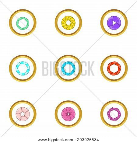 Lens aperture icons set. Cartoon set of 9 lens aperture vector icons for web isolated on white background