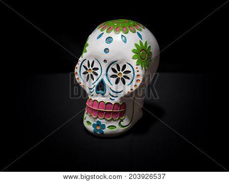A white sugar skull for Dias de la muerte or day of the dead a mexican celebration.