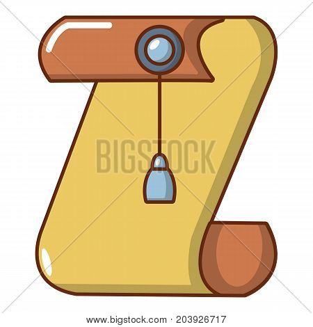 Medieval manuscript and seal icon. Cartoon illustration of medieval manuscript and seal vector icon for web