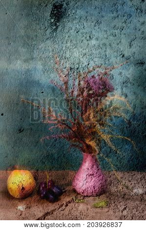 Ancient background. Fresco- abstract paint. Still life vintage- mural