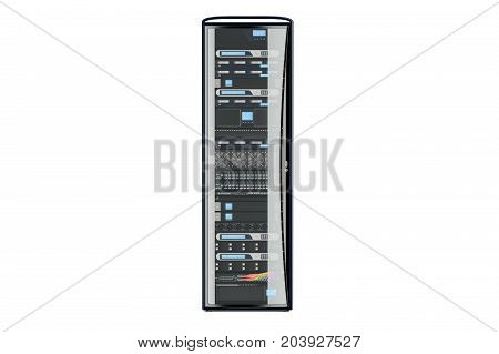 Computer Server Rack 3D rendering isolated on white background