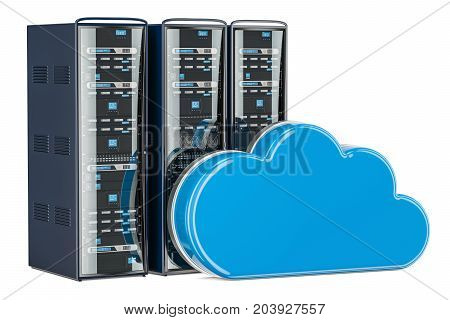 Computer Server Racks with computing cloud. Storage concept 3D rendering isolated on white background