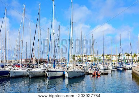 Boats in port of Puero de Mogan on Gran Canaria.