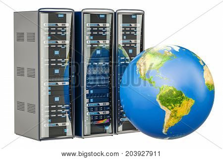 Computer Server Racks with Earth Globe. Global internet concept 3D rendering isolated on white background