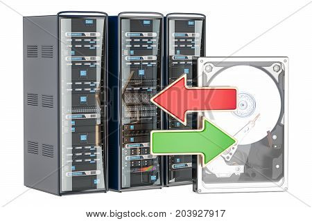 Computer Server Racks with green and red arrows synchronization or backup concept. 3D rendering
