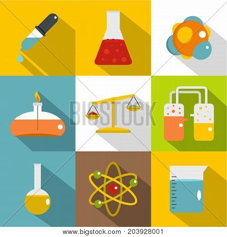Chemistry science icon set. Flat style set of 9 chemistry science vector icons for web design
