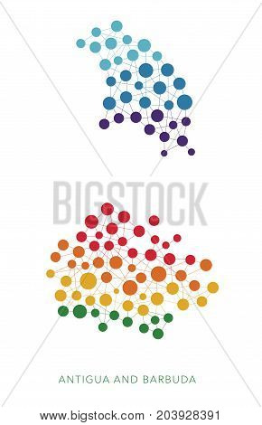dotted texture Antigua and Barbuda vector rainbow colorful background