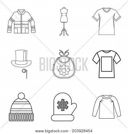 Winter clothes icon set. Outline set of 9 winter clothes vector icons for web design isolated on white background
