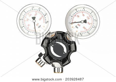 Pressure regulator with reducing valve front view. 3D rendering isolated on white background