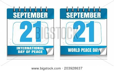 International Day of Peace known as World Peace Day. Wall calendar set. September 21. Vector illustration