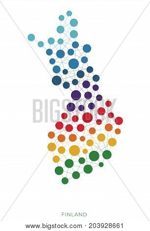 dotted texture Finland vector rainbow colorful background