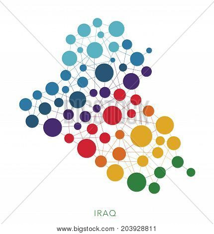 dotted texture Iraq vector rainbow colorful background
