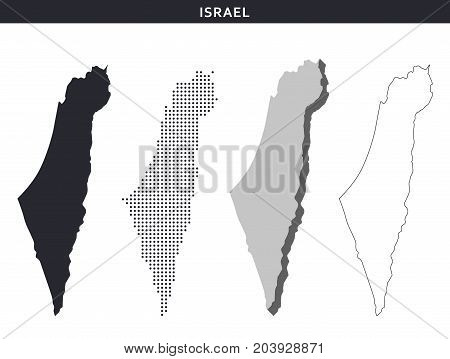 Israel map vector collection, abstract geography patterns