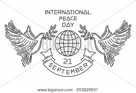 International Peace Day known as World Peace Day. Line logo design. September 21. Vector illustration