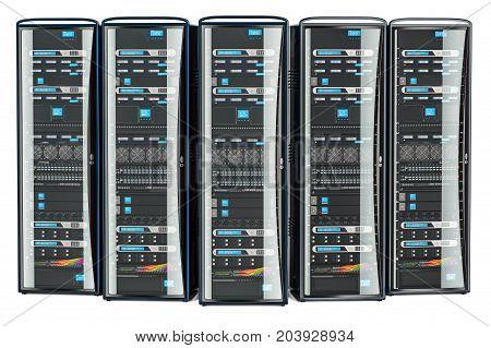 Set of Computer Server Racks 3D rendering isolated on white background