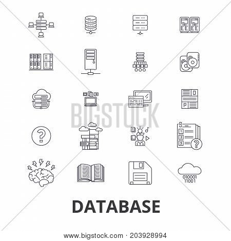 Database, data management, hosting, technology, db, server, storage, backup line icons. Editable strokes. Flat design vector illustration symbol concept. Linear signs isolated on background