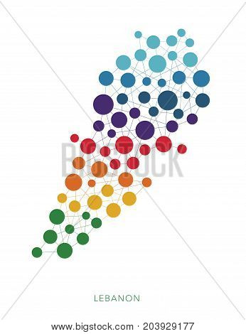 dotted texture Lebanon vector rainbow colorful background
