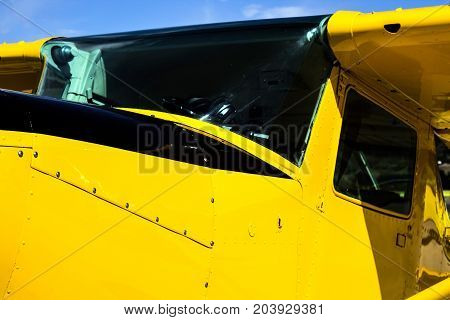 Closeup of a Vintage Bright Yellow Airplane