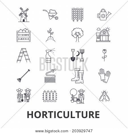 Horticulture, garden, plant, agriculture, farm, cultivation, harvest line icons. Editable strokes. Flat design vector illustration symbol concept. Linear signs isolated on background