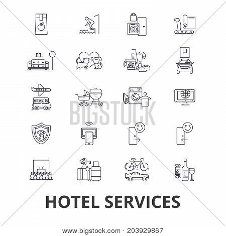 Hotel services, room service, tourism, receptionist line icons. Editable strokes. Flat design vector illustration symbol concept. Linear signs isolated on background