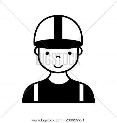 contour profesional man worker with cap and clothes vector illustration