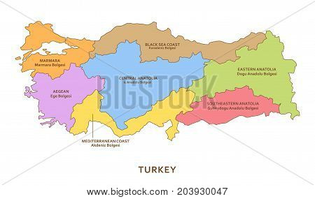 Turkey regions, vector province geography multicolored background